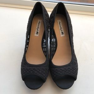 American Eagle black lace wedge open toe shoes.